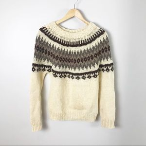 Vintage 70's Nordic Hand Knit Fair Isle Sweater